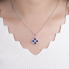 Load image into Gallery viewer, Blue Sapphire Pendant Necklace 14K White Gold Charming Diamond Necklace - EK CHIC