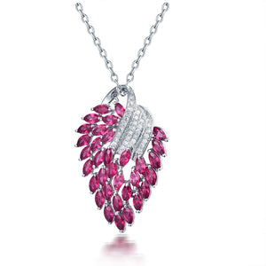 Vintage 18Kt White Gold Natural  Pink Ruby Pendant Necklace - EK CHIC