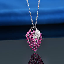 Load image into Gallery viewer, JEWELRY Vintage 18Kt White Gold Natural Pink Ruby Pendant Necklace - EK CHIC