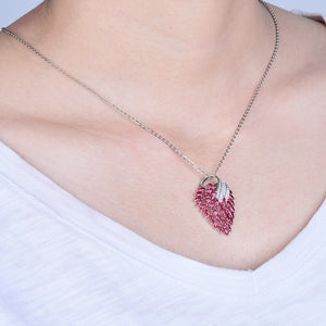 JEWELRY Vintage 18Kt White Gold Natural Pink Ruby Pendant Necklace - EK CHIC