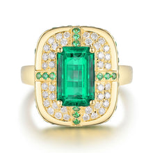 Load image into Gallery viewer, JEWELRY Solid 18K Yellow Gold Green Emerald Wedding Diamonds Ring - EK CHIC