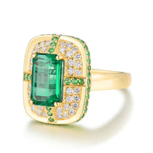Load image into Gallery viewer, Solid 18K Yellow Gold Green Emerald Wedding Diamonds Ring - EK CHIC