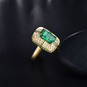 Solid 18K Yellow Gold Green Emerald Wedding Diamonds Ring - EK CHIC