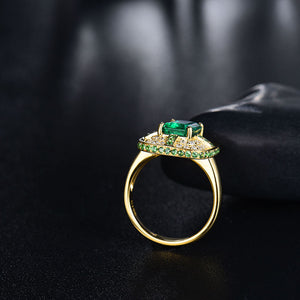 JEWELRY Solid 18K Yellow Gold Green Emerald Wedding Diamonds Ring - EK CHIC