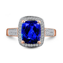 Load image into Gallery viewer, JEWELRY Solid 14Kt Rose Gold Cushion 7x9mm Natural Tanzanite Engagement Ring - EK CHIC