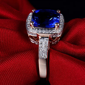 JEWELRY Solid 14Kt Rose Gold Cushion 7x9mm Natural Tanzanite Engagement Ring - EK CHIC