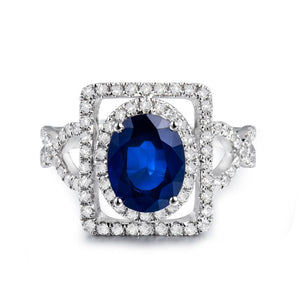 JEWELRY Infinity Style Vintage Oval 5x7mm 14Kt White Gold Diamond Sapphire Engagement Ring - EK CHIC