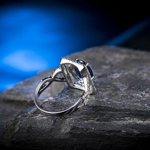 Infinity Style Vintage Oval 5x7mm 14Kt White Gold Diamond Sapphire Engagement Ring - EK CHIC