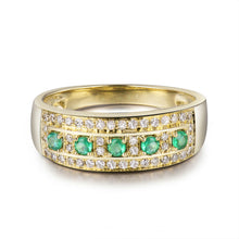 Load image into Gallery viewer, JEWELRY Vintage Solid 18K Yellow Gold Natural Green Columbia Emerald Gemstone - EK CHIC