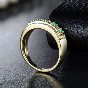 JEWELRY Vintage Solid 18K Yellow Gold Natural Green Columbia Emerald Gemstone - EK CHIC