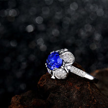 Load image into Gallery viewer, JEWELRY Natural Tanzanite In Solid 18Kt White Gold Engagement Ring - EK CHIC