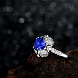 JEWELRY Natural Tanzanite In Solid 18Kt White Gold Engagement Ring - EK CHIC