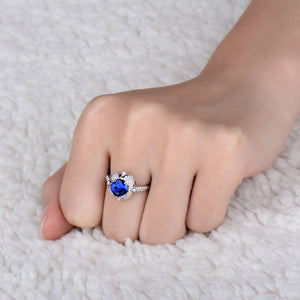 Natural Tanzanite In Solid 18Kt White Gold Engagement Ring - EK CHIC