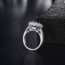 Load image into Gallery viewer, JEWELRY Solid 18K White Gold Oval Genuine Sapphire Wedding Ring - EK CHIC