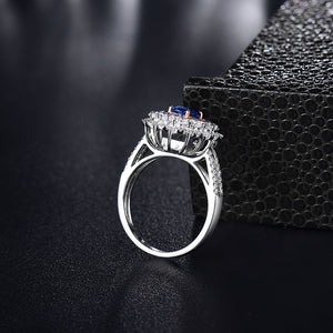 JEWELRY Solid 18K White Gold Oval Genuine Sapphire Wedding Ring - EK CHIC
