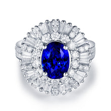 Load image into Gallery viewer, JEWELRY Luxury Solid 18K White Gold Blue Sapphire Diamonds Ring - EK CHIC