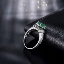 Load image into Gallery viewer, JEWELRY 14Kt White Gold Diamond Emerald Wedding Ring - EK CHIC