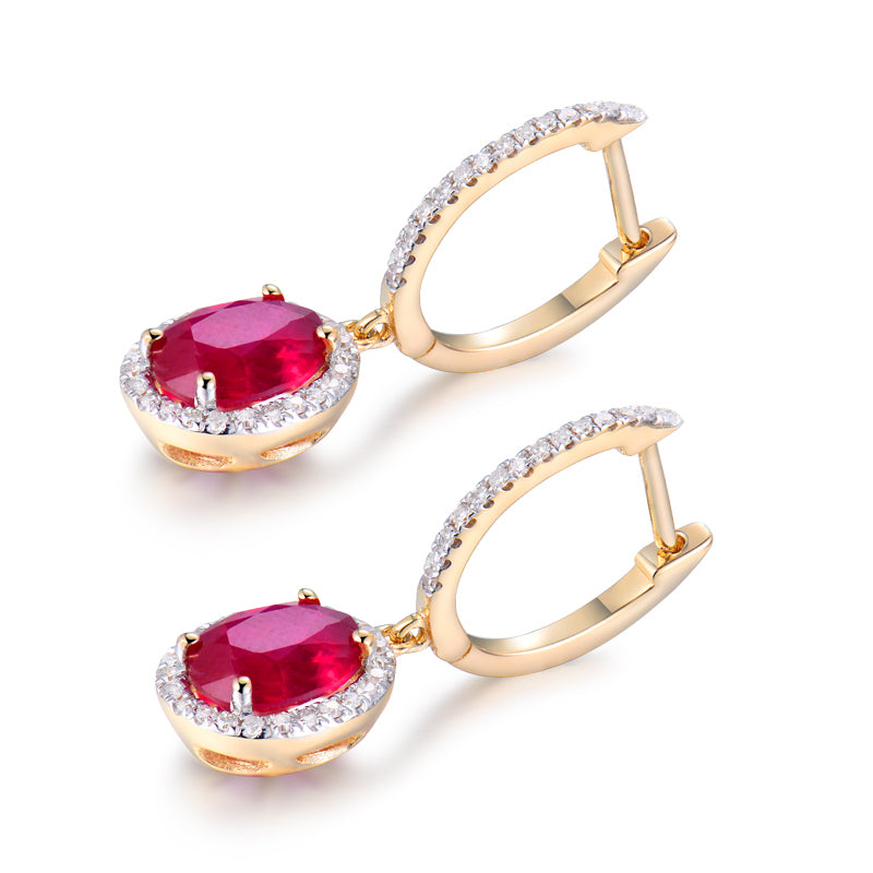 JEWELRY Solid 14Kt Yellow Gold Natural Red Ruby Earrings - EK CHIC