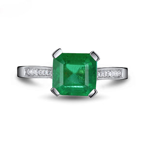 JEWELRY Solid 14Kt White Gold Princess Cut 5x7mm Emerald Ring - EK CHIC