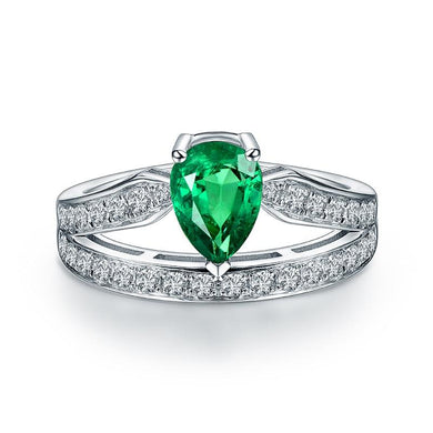 JEWELRY 14K White Gold Natural Colombia Emerald Ring - EK CHIC