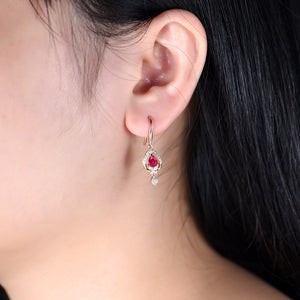 Pear Shaped Natural Ruby Earrings  18K Rose Gold - EK CHIC