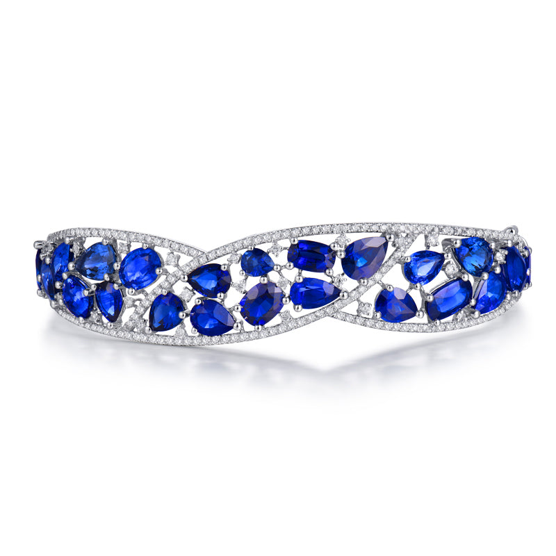 Solid 18K White Gold Blue Sapphire Sparkly Diamond Bangle - EK CHIC