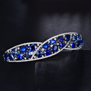 JEWELRY Solid 18K White Gold Blue Sapphire Sparkly Diamond Bangle - EK CHIC