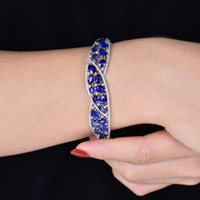 Load image into Gallery viewer, Solid 18K White Gold Blue Sapphire Sparkly Diamond Bangle - EK CHIC