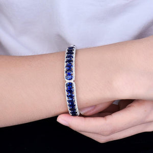 18Kt White Gold Natural Blue Sapphire & Diamond Bangle - EK CHIC