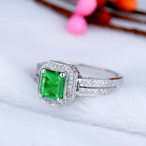 JEWELRY Vintage Emerald Diamond Engagement Ring Emerald Cut 5x7mm Solid 14kt White Gold - EK CHIC