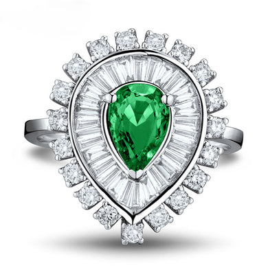 JEWELRY Pear Natural Green Emerald Engagement Ring 18K White Gold - EK CHIC