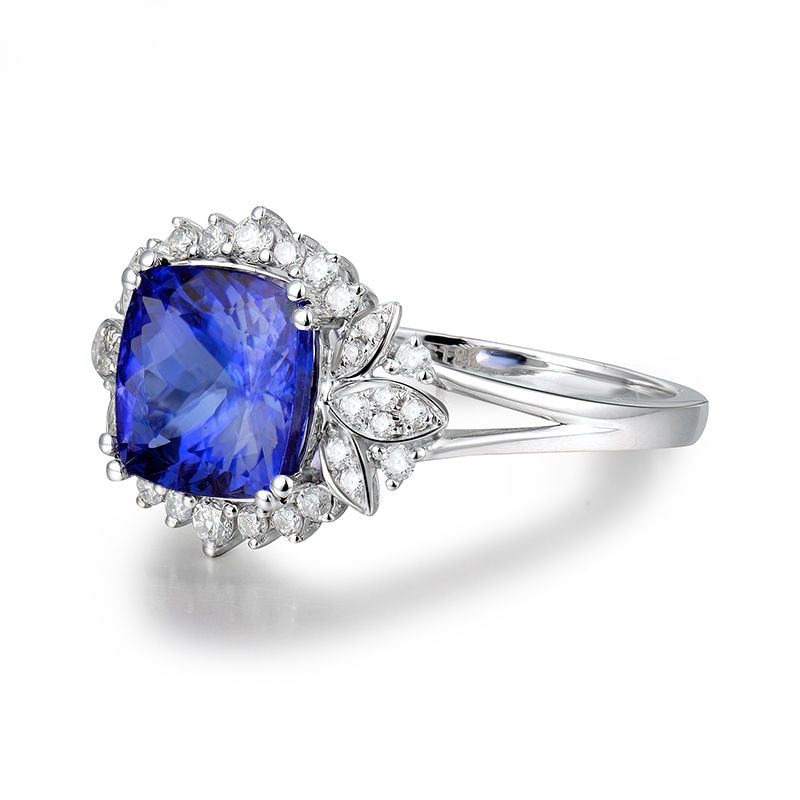 JEWELRY Cushion Tanzanite With Natural Diamond In 18Kt White Gold - EK CHIC