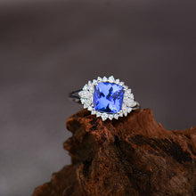 Load image into Gallery viewer, JEWELRY Cushion Tanzanite With Natural Diamond In 18Kt White Gold - EK CHIC