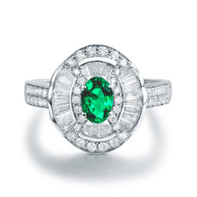 Load image into Gallery viewer, JEWELRY Solid 14K White Gold Natural Round Baguette Diamond Green Colombia Emerald Ring - EK CHIC