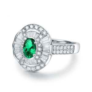 JEWELRY Solid 14K White Gold Natural Round Baguette Diamond Green Colombia Emerald Ring - EK CHIC