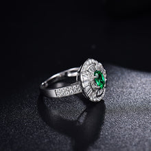 Load image into Gallery viewer, Solid 14K White Gold Natural Round Baguette Diamond Green Colombia Emerald Ring - EK CHIC