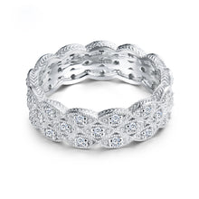 Load image into Gallery viewer, JEWELRY Solid 18K White Gold VS Clarify Diamonds Wedding Luxury Band - EK CHIC