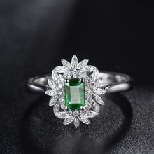 Load image into Gallery viewer, RING Luxury 18K White Gold Emerald Ring - Vintage Engagement Ring - EK CHIC