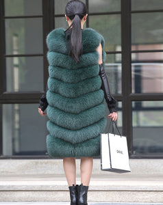 FUR COAT Natural Fox Fur Long Vest - EK CHIC