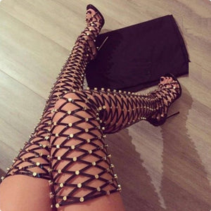 BOOTS Sexy Rivets Studded Thigh High Gladiator Sandals - EK CHIC