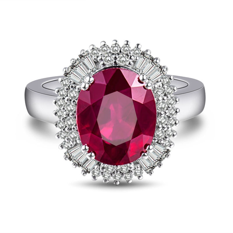 JEWELRY Oval 9X11mm Natural Diamond Ruby Engagement Ring In 18Kt White Gold - EK CHIC