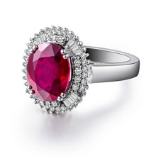 Load image into Gallery viewer, Oval 9X11mm Natural Diamond Ruby Engagement Ring In 18Kt White Gold - EK CHIC