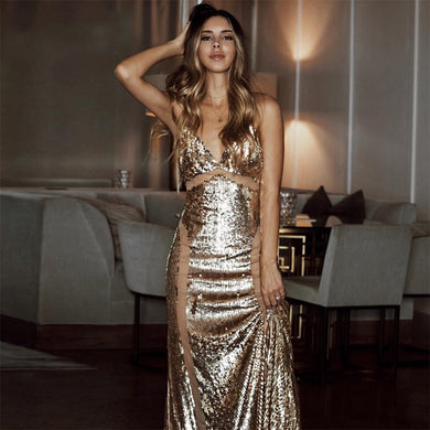 DRESS Celebrity Spaghetti Strap V-Neck Sequined Backless Dress - EK CHIC