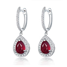 Load image into Gallery viewer, JEWELRY Pear 6x8mm Natural Ruby Earring -14k White Gold Diamond Earrings - EK CHIC