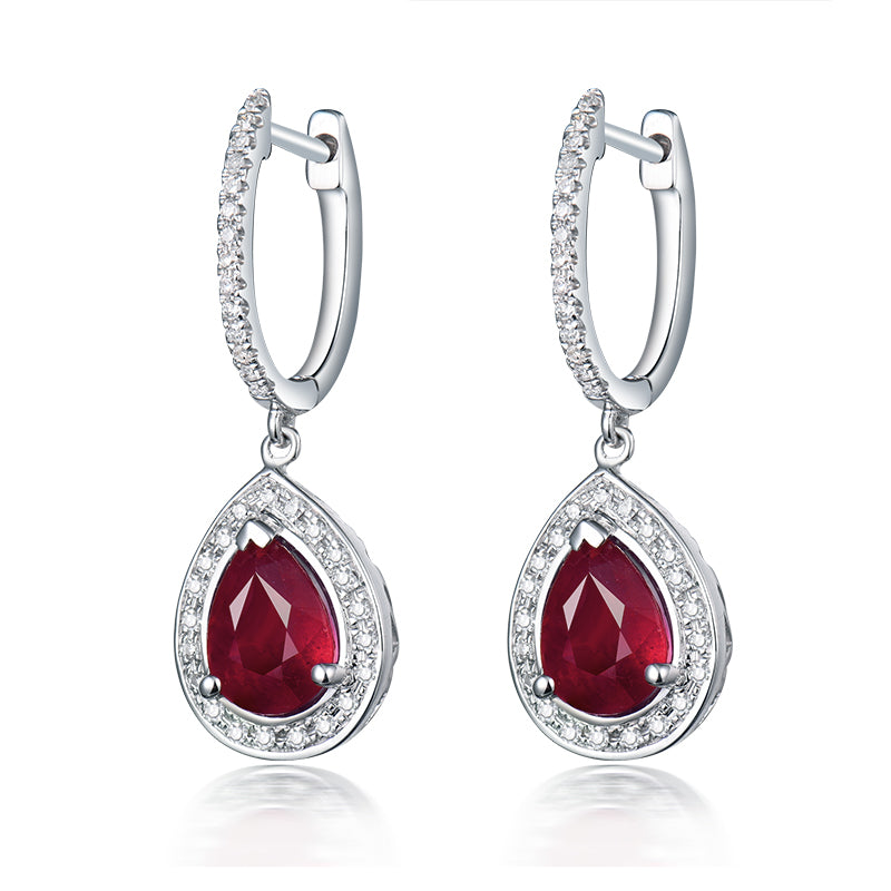 Pear 6x8mm Natural Ruby Earring -14k White Gold Diamond Earrings - EK CHIC