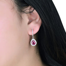 Load image into Gallery viewer, Pear 6x8mm Natural Ruby Earring -14k White Gold Diamond Earrings - EK CHIC