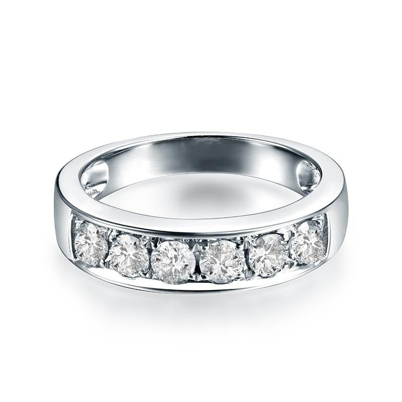18K White Gold & Diamond Wedding/ Anniversary Ring Band - EK CHIC