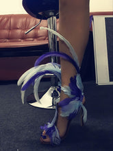 Load image into Gallery viewer, shoes Blue Feather Sexy Club Party Gladiator Sandals - EK CHIC