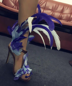 shoes Blue Feather Sexy Club Party Gladiator Sandals - EK CHIC
