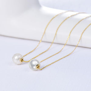 18K Yellow Gold Seawater Pearl Pendant Necklace w/Chain - EK CHIC